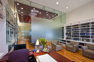 Image of an office with beautiful glass