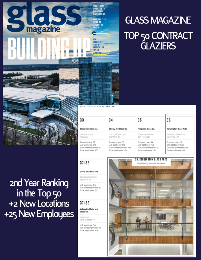 Glass Magazine | Top 50 Glaziers List 2018 - KGa Named to Top 50 Contract Glaziers
